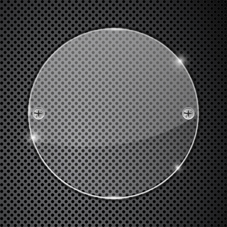 perforated: Transparent round glass plate on metal perforated background