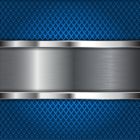 stainless steel: Metal brushed plate on blue perforated background. Vector 3d illustration