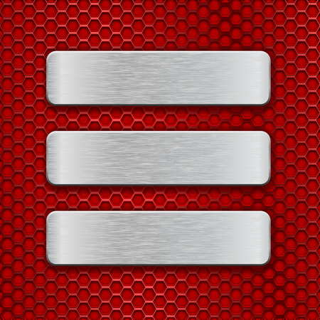 brushed steel: Metal rectangular brushed plates on red perforated background. Vector 3d illustration Illustration