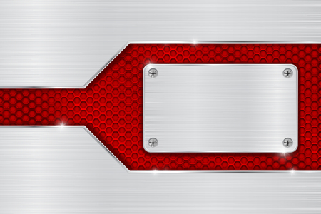 brushed steel: Metal brushed background with red perforated element