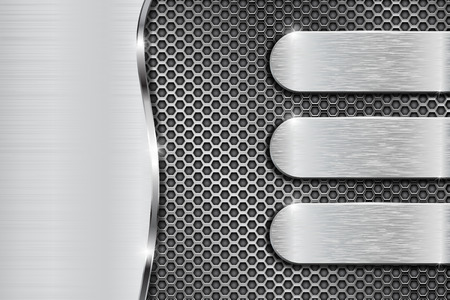 alloy: Metal perforated background with brushed steel elements. Vector 3d illustration