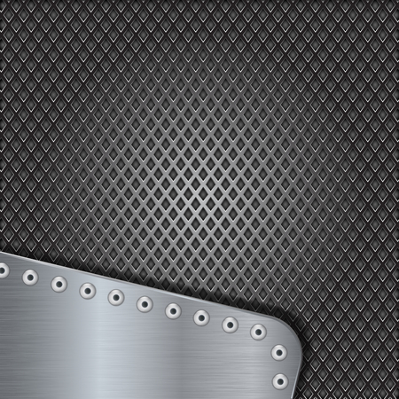 Iron perforated background with metal brushed element with rivets. Vector 3d illustration Illustration