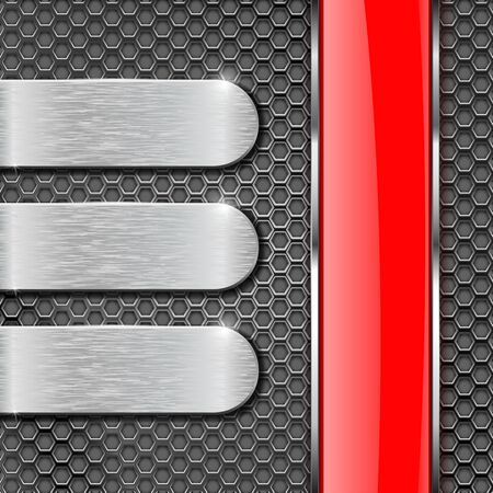 stainless steel: Metal perforated background with shiny glass stripe and metal plates. Vector 3d illustration