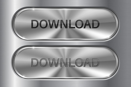 website buttons: Metal oval button on stainless steel background. DOWNLOAD 3d icon. Set of active and normal buttons