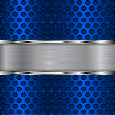 perforated: Blue metal perforated background with chrome shiny plate. Vector 3d illustration