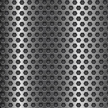 perforated: Dark metal perforated background. Hexagon shape holes Illustration