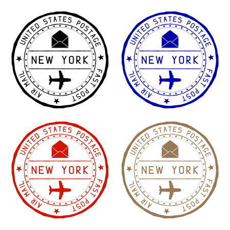 New York mail stamps. Colored set of round impress