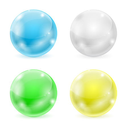 Glass balls. Colored 3d shiny sphere