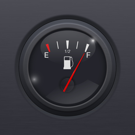 Black fuel gauge. Full tank Illustration