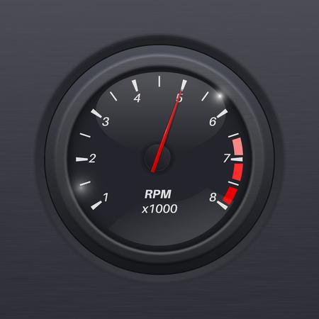 Tachometer. Black gauge. Classic car computer dashboard Illustration