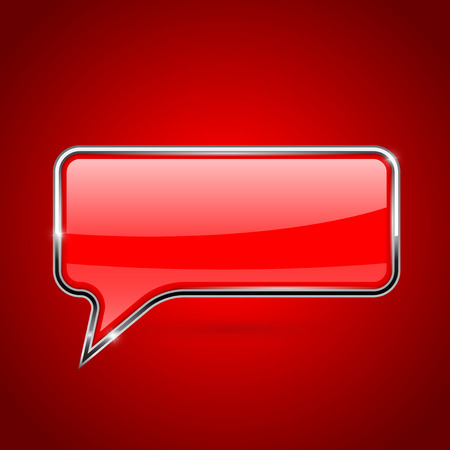 Red speech bubble with chrome frame. On red background