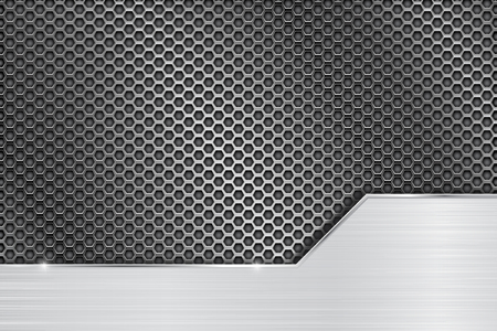 perforated: Metal perforated background with steel brushed plate Illustration