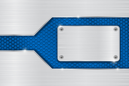 perforated: Metal brushed background with blue perforated element
