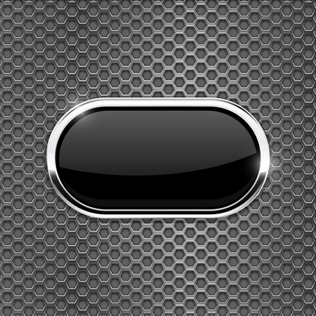 brushed steel: Black oval glass button on metal perforated background