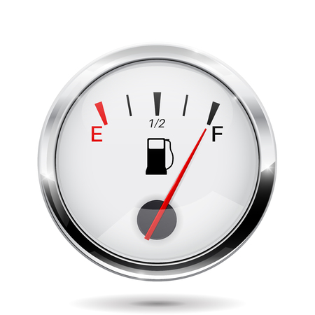 Fuel gauge with chrome frame. Full indication