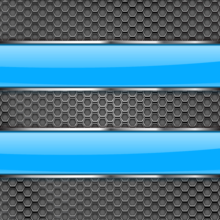 Metal perforated background with blue glass plates. Vector 3d illustration