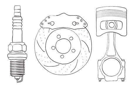 Brake Disc Piston And Spark Plug Sketch Royalty Free Cliparts