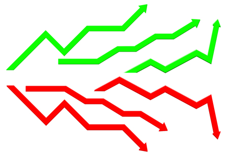 Business Indication arrows. Up Down arrows, statistic financial Illustration