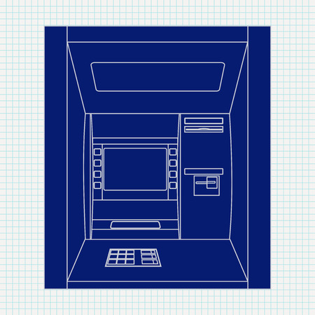 automated: ATM. Bank machine. Automated Teller Machine. illustration on Not