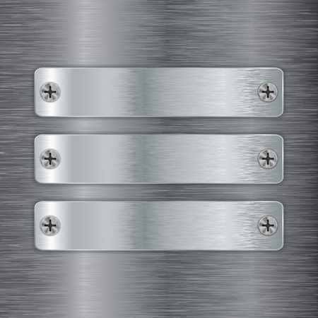 brushed steel: Metal plate with screw head on brushed steel background. Illustration