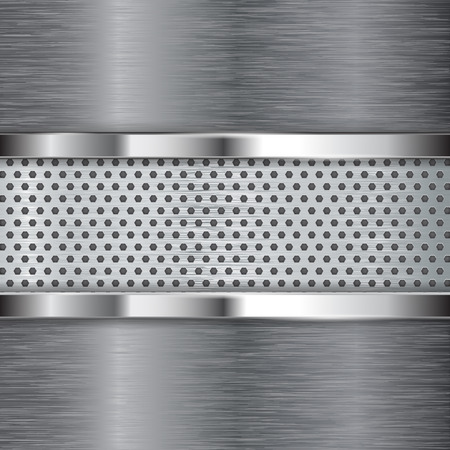 perforated: Metal background. Chrome frame and perforated plate.