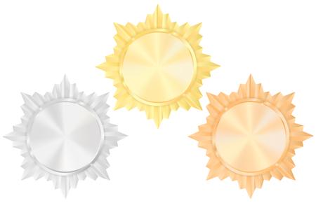 Award sign. Gold, bronze, silver medal. Shiny Order star .