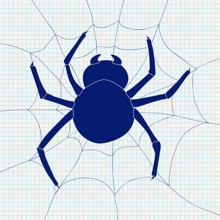 Spider and spider web icon.