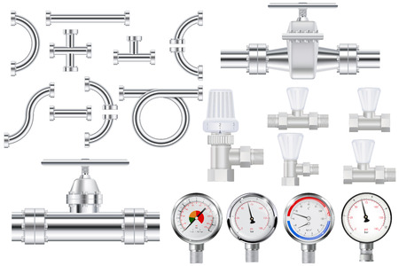Metal pipes, chrome pipe flange,  Water valve. Manometer.
