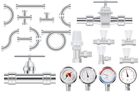 Metal pipes, chrome pipe flange,  Water valve. Manometer.