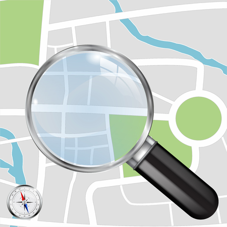 Abstract town plan. City map and Transparent Magnifying glass and compass. Vector