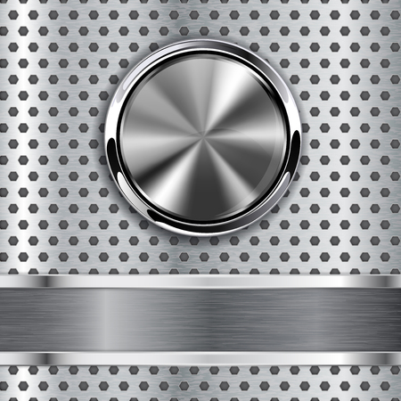 Steel round button on metal background, web icon with metallic f