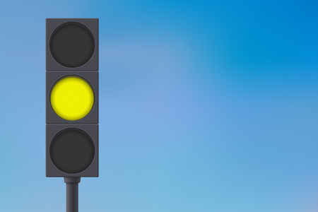 stop and go light: Traffic lights with yellow light on.