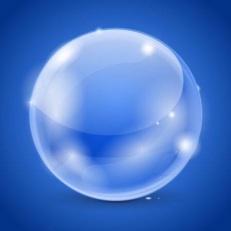 shiny buttons: Blue glass ball. 3d shiny sphere