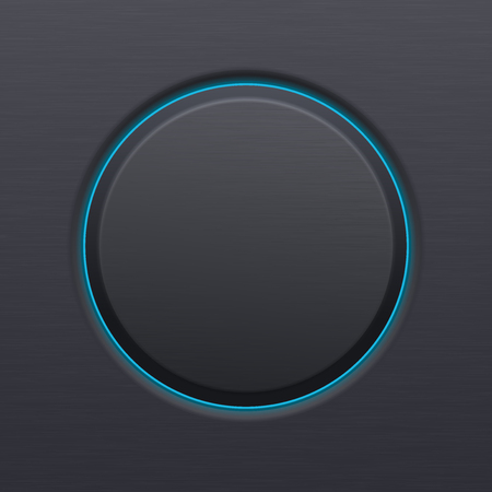 Black matted plastic button with blue backlight