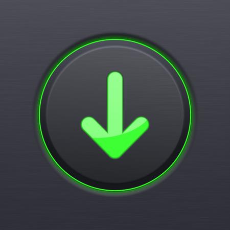 Schwarz Download-Taste mit grünem Pfeil nach unten