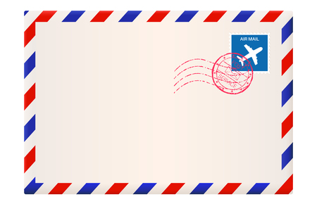Envelope. International air mail with red and blue frame