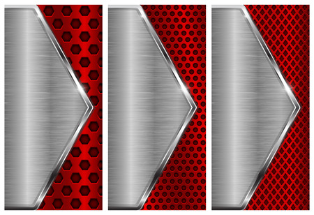 Metal brushed background with perforation. Red and silver flyer templates