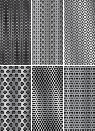 Collection of metal backgrounds. Perforated steel textures. Flyer templates