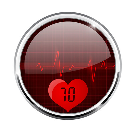 Electrocardiogram sign with pulse 70 indication. Red round 3d icon with chrome frame