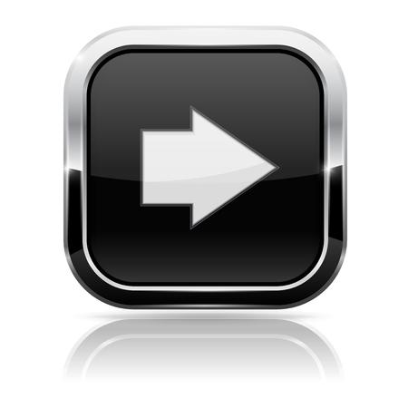 Schwarzes quadratisches Knopf mit weißem Pfeil
