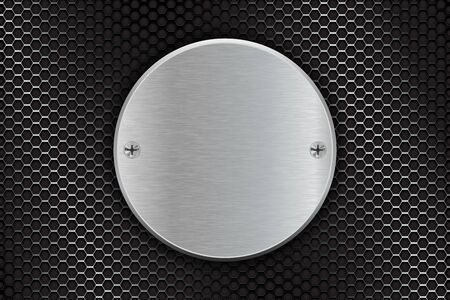 Metal brushed round plate on perforated background