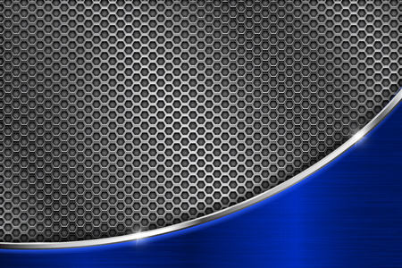 Metal perforated background with blue wave steel element