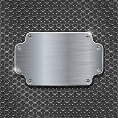 Metal decorative plate on iron perforated background Illustration