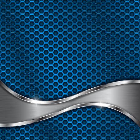 강철 웨이브 요소와 파란색 금속 천공 된 배경
