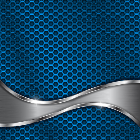 Blue metal perforated background with steel wave element