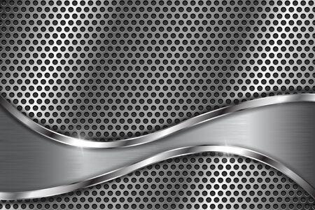 Metaal geperforeerde achtergrond met abstracte gebogen elementen. Met ronde gaten Stock Illustratie