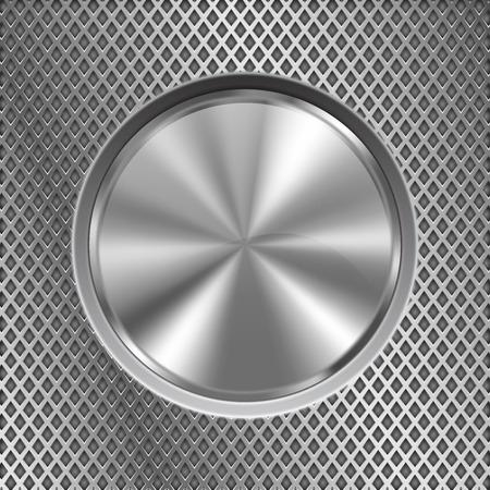 Bouton métallique ronde sur fond perforé en acier inoxydable Banque d'images - 84202172