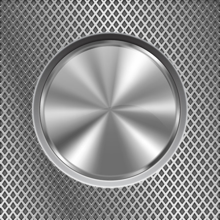 Metal round button on stainless steel perforated background Stok Fotoğraf - 84202172