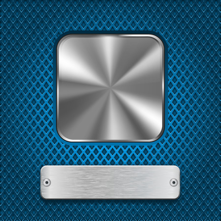 steel plate: Metal square button and rivetted steel plate on blue perforated background