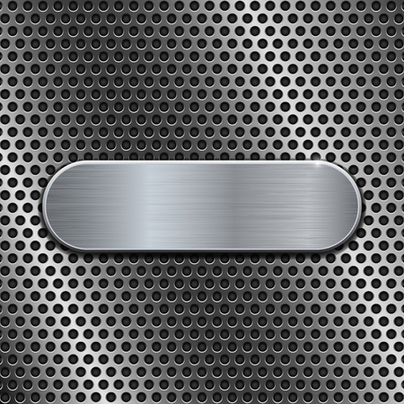 Metal oval plate on perforated background Illustration